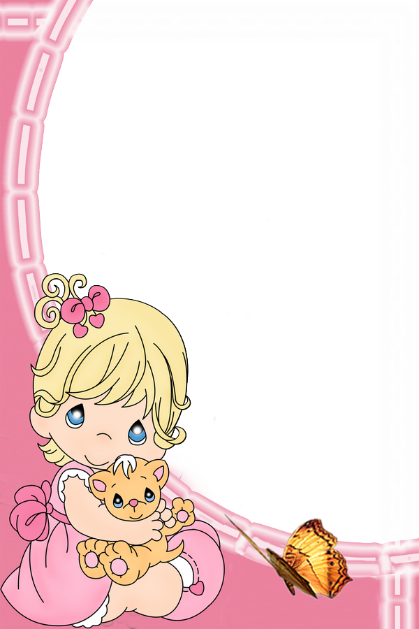Kitty clipart frame. Cute girl with kids