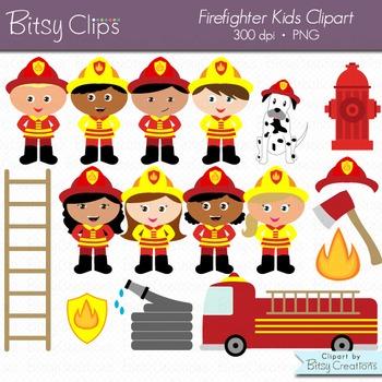 Firefighter kids digital art. Fireman clipart kid