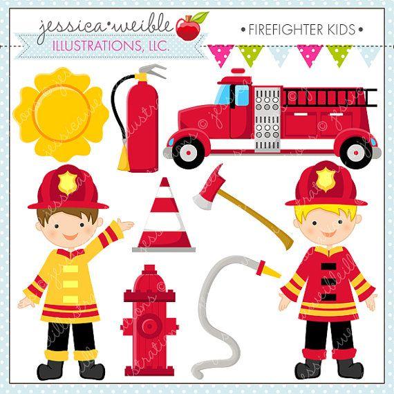 Fireman clipart emergency service. Firefighter kids cute digital