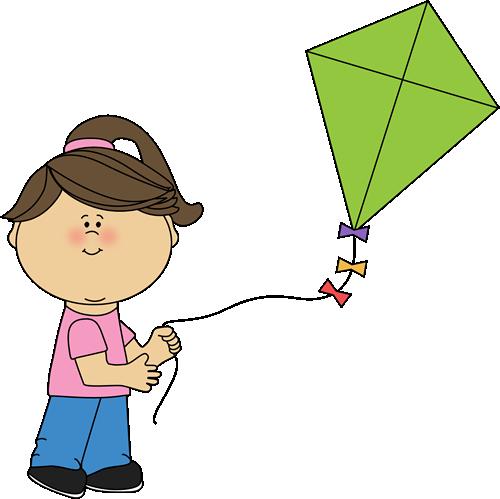 Kite clipart girl holding. Flying a spring summer