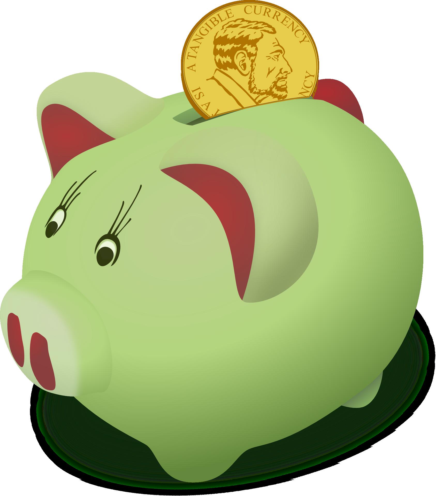 Piggy bank kids saving. Kid clipart money