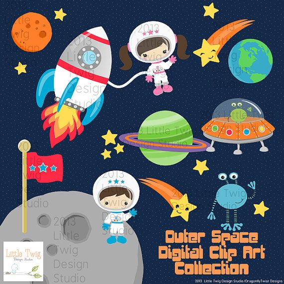 Outer space astronauts kids. Spaceship clipart children's