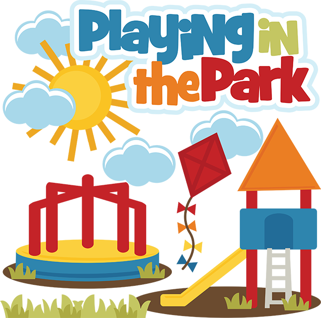 Playing in the park. Words clipart playground