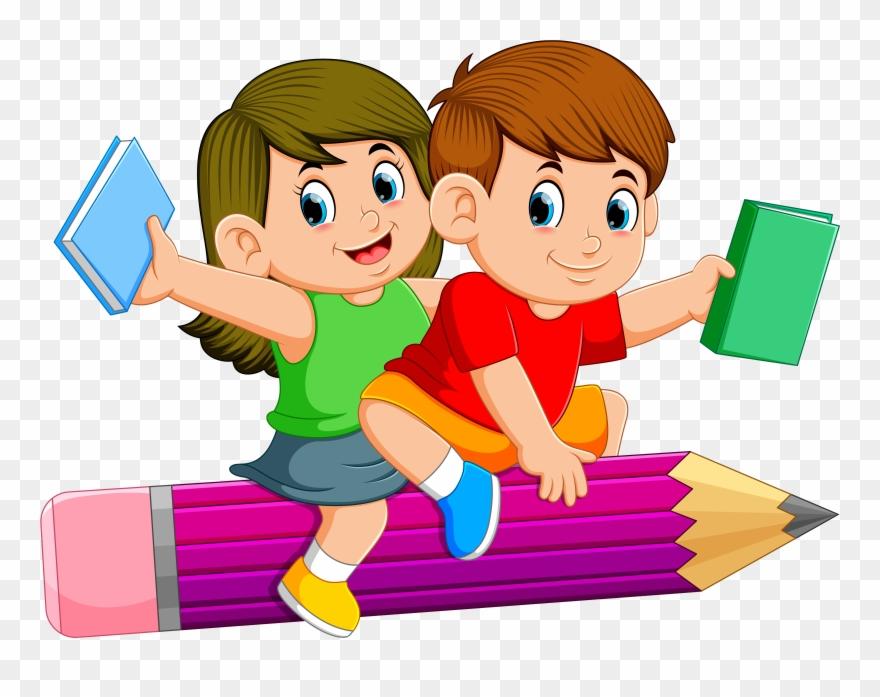 Clipart pencil children's. Children courses kids flying