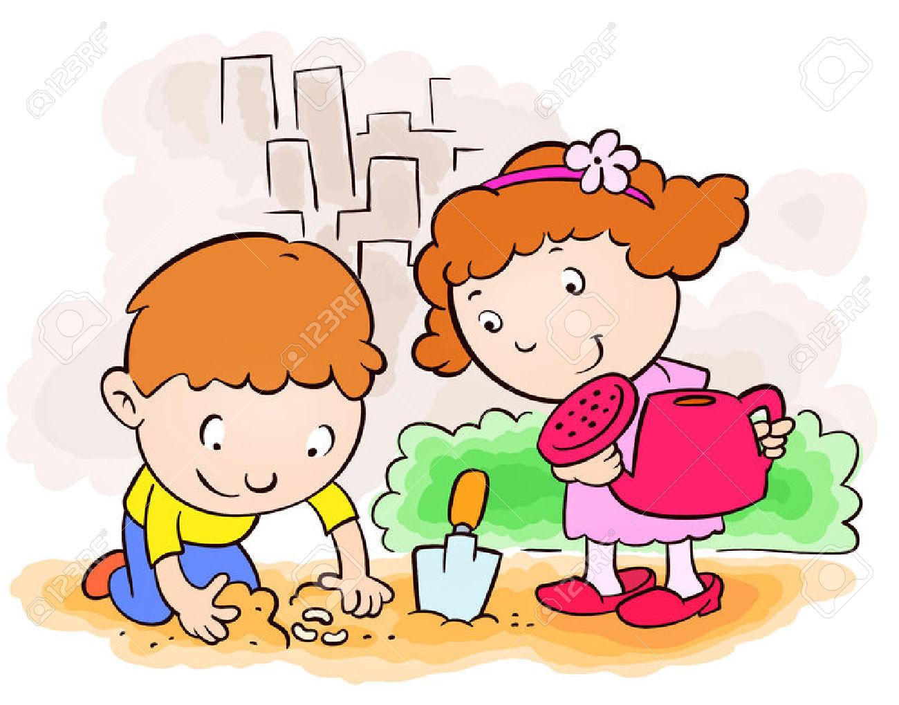 Kids gardening free download. Planting clipart kid
