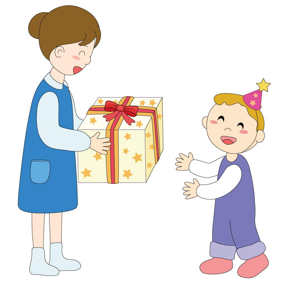 Gift illustration giving gifts. Mother clipart child free
