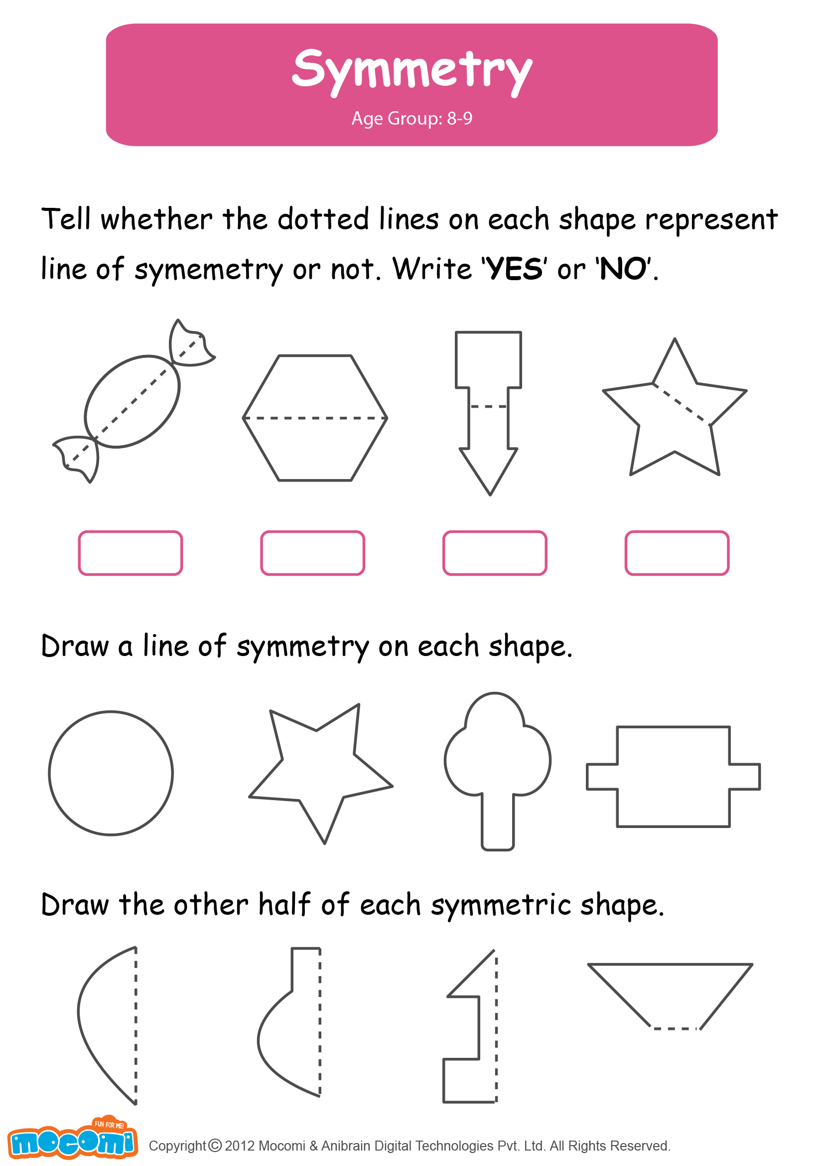 Fractions clipart 5th grade math. Symmetry worksheet for kids