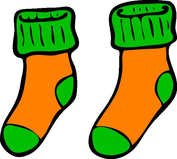 Kid clipart sock. Orange green clip art