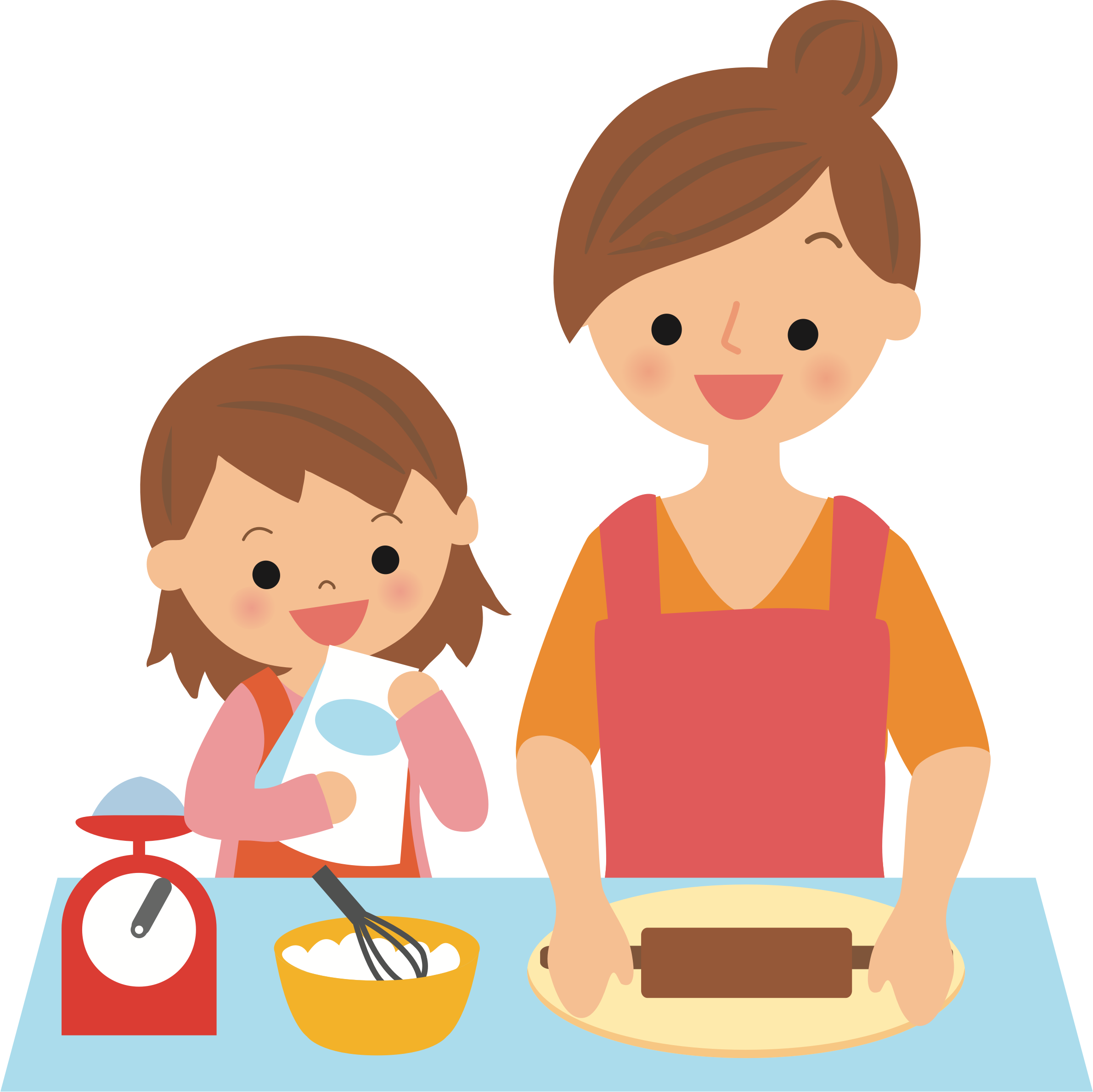 Baking with big image. Mother clipart patient
