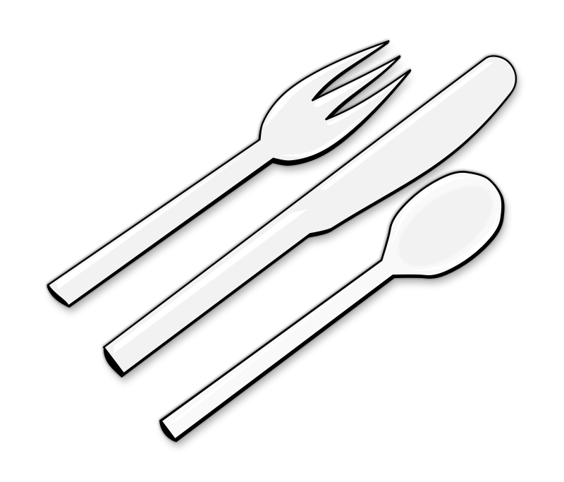 Clipart kitchen black and white. Knife cutlery drawing fork