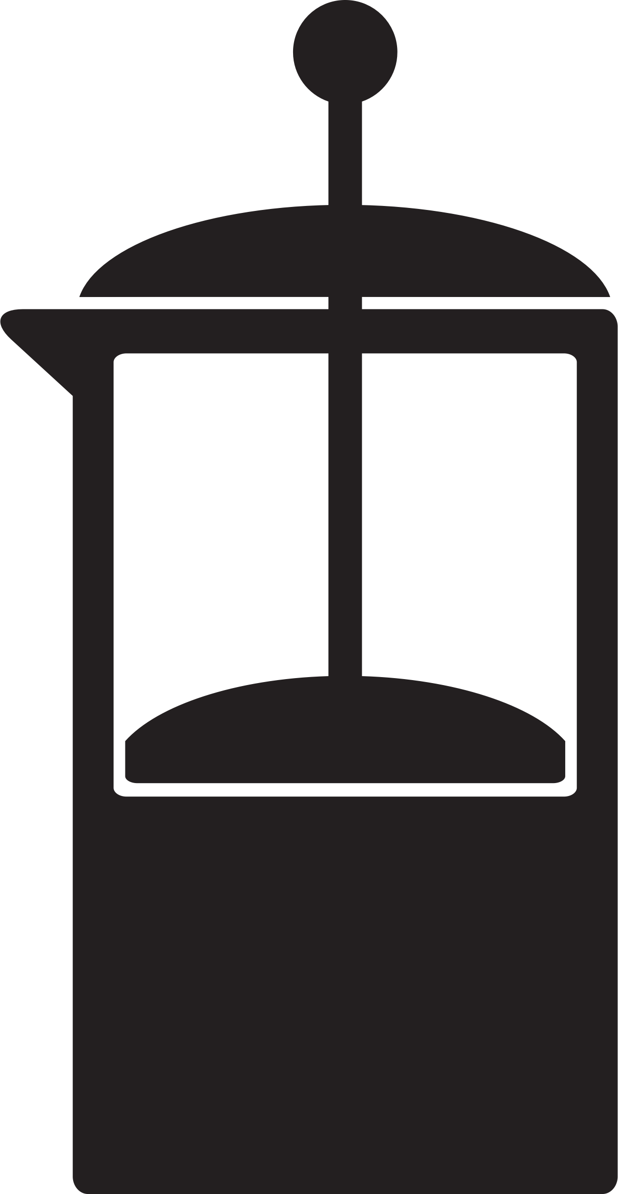 Icon coffee french press. Clipart kitchen black and white