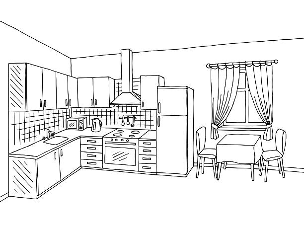 Kitchen clipart black and white. Clip art table