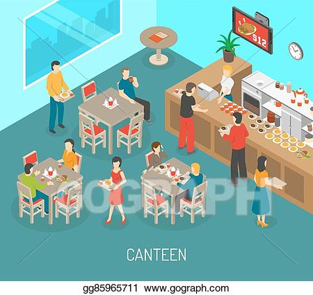Clipart lunch company lunch. Vector stock workplace canteen