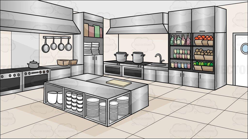 Kitchen clipart commercial kitchen. A restaurant background