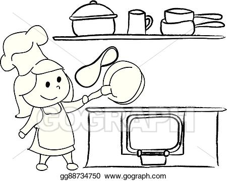 Clipart kitchen drawing. Eps vector girl in