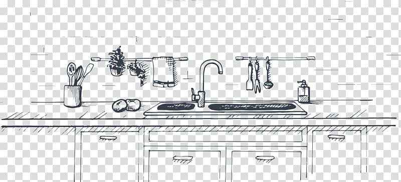 Countertop sketch transparent . Clipart kitchen drawing