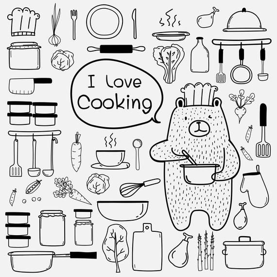 Bear chef cooking hand. Clipart kitchen drawing