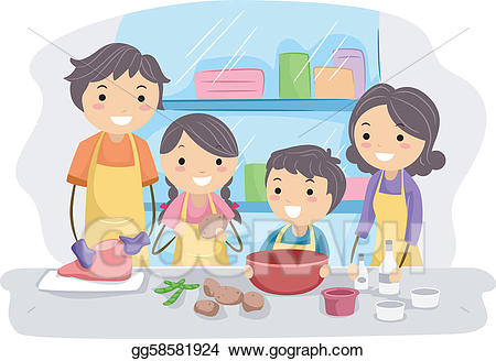 Vector art in the. Clipart kitchen family kitchen