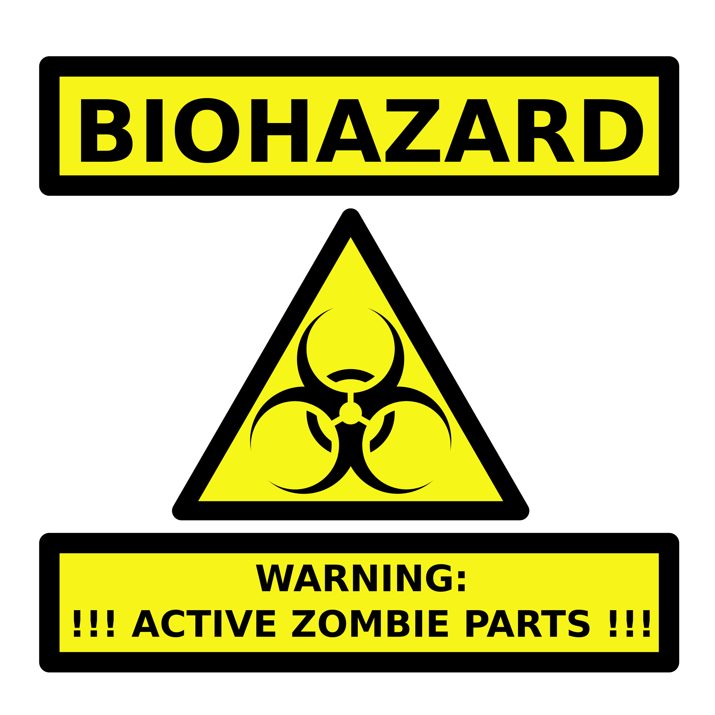 Game clipart risk. Zombie parts warning label