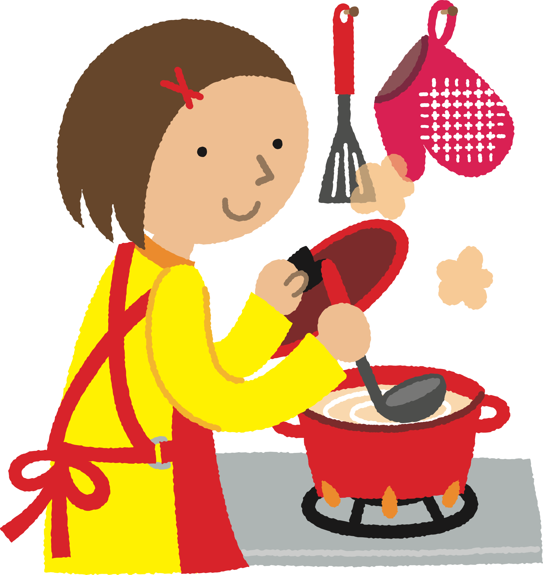 Woman cooking big image. Clipart kitchen kichen