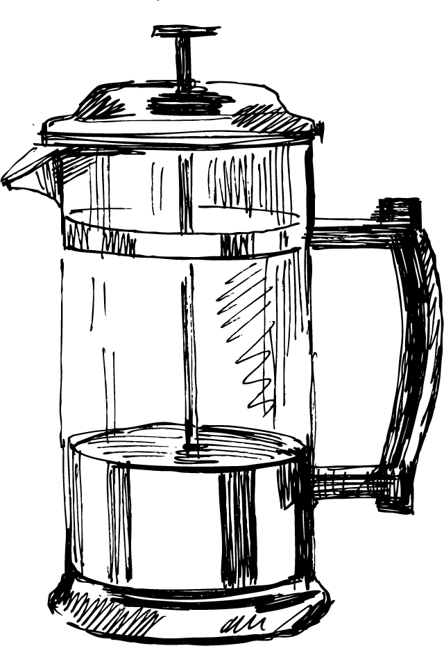 Coffeemaker kettle drawing sketch. Clipart kitchen kitchen appliance