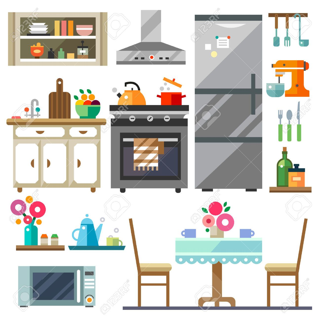 Living room table chairs. Furniture clipart kitchen furniture