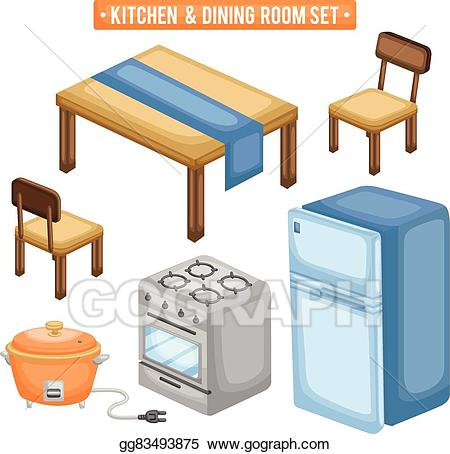 Clipart kitchen kitchen dining room. Vector and items