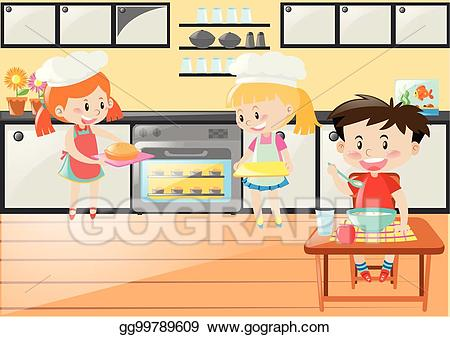 Vector stock with girls. Clipart kitchen kitchen scene