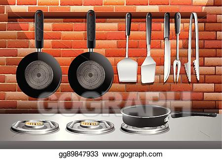 Vector illustration with pots. Clipart kitchen kitchen scene