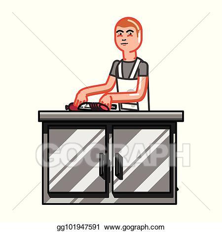 Eps illustration man vector. Clipart kitchen kitchen worker