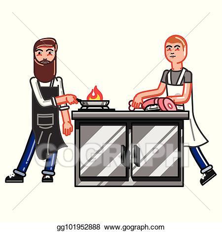 Clipart kitchen kitchen worker. Eps illustration man vector