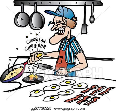 Clipart kitchen kitchen worker. Vector illustration hand burn