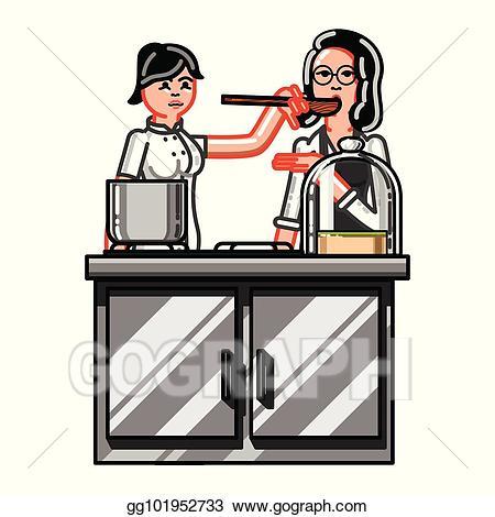 Vector art woman eps. Clipart kitchen kitchen worker