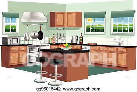 Eps illustration modern vector. Kitchen clipart kitchen unit