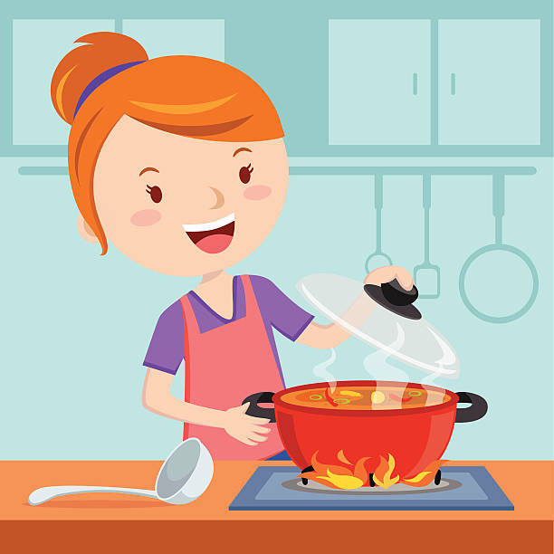 Cooking in the station. Clipart kitchen mother