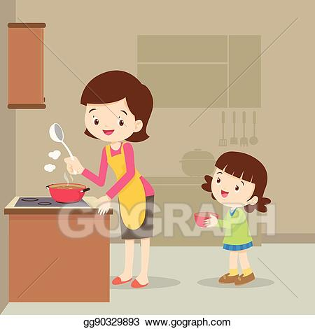 Clipart kitchen mother. Eps vector girl and