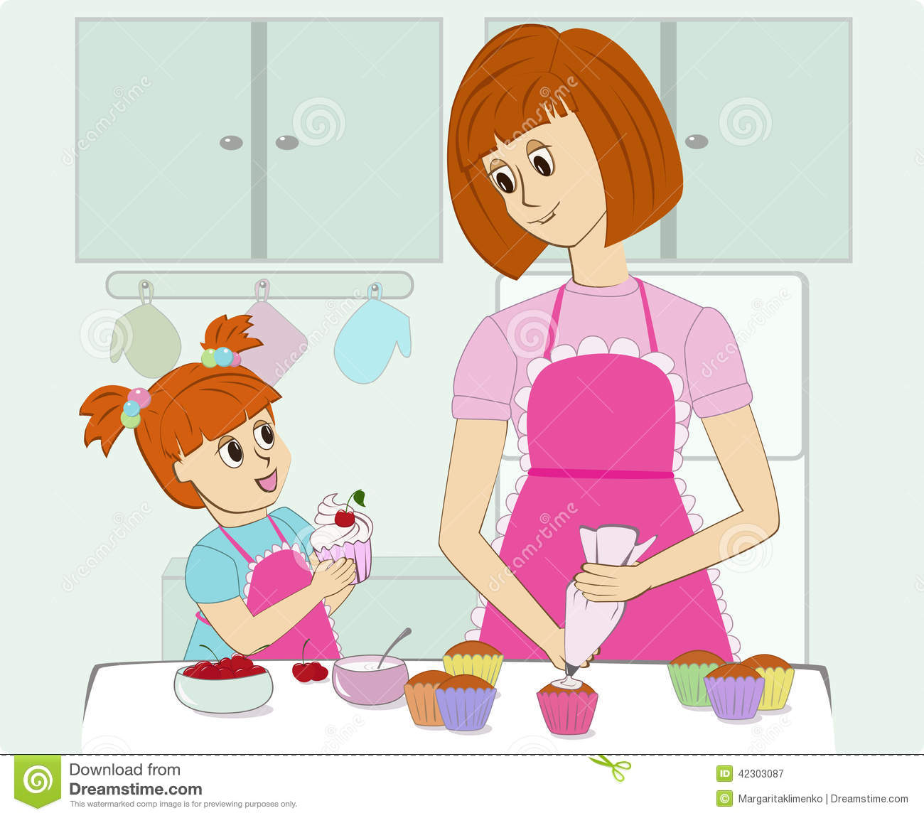 Clipart kitchen mother. Cooking in the station