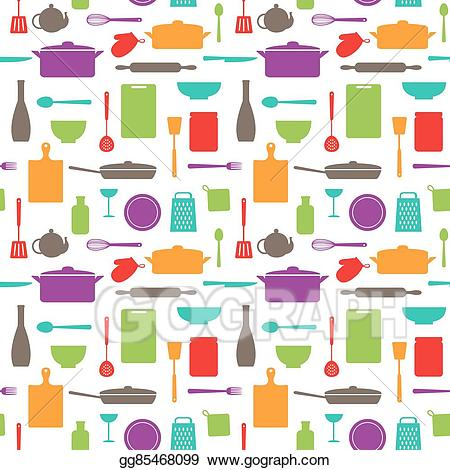 Vector stock seamless of. Clipart kitchen pattern