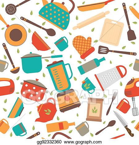 Clipart kitchen pattern. Vector seamless with tools