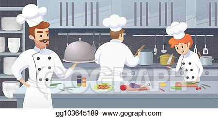 Cook clipart kitchen staff. Vector illustration commercial with
