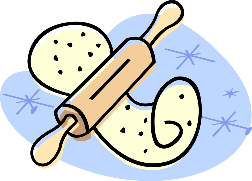 Kitchen clipart rolling pin. Vector image illustration of