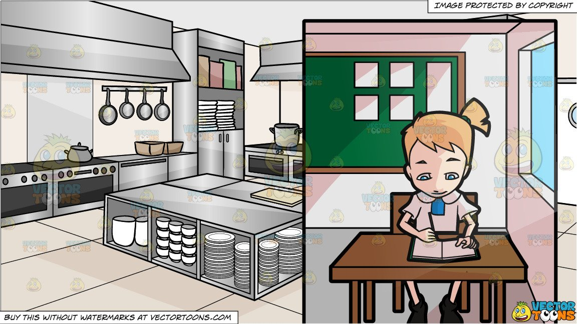 A girl in focuses. Clipart kitchen school