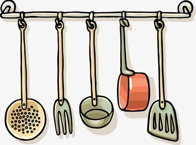 Kitchen clipart utensils. Black line png