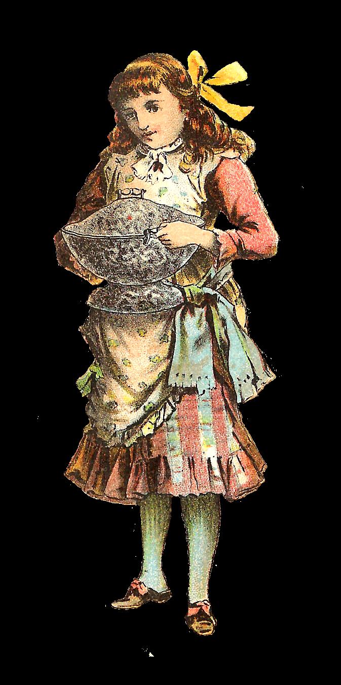Clipart kitchen woman. Antique images december girl
