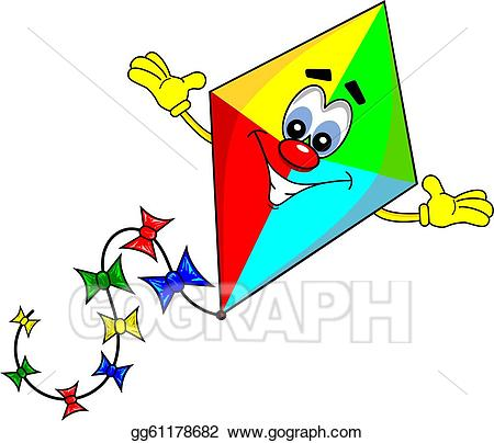 Clipart kite animated. Vector art a cartoon