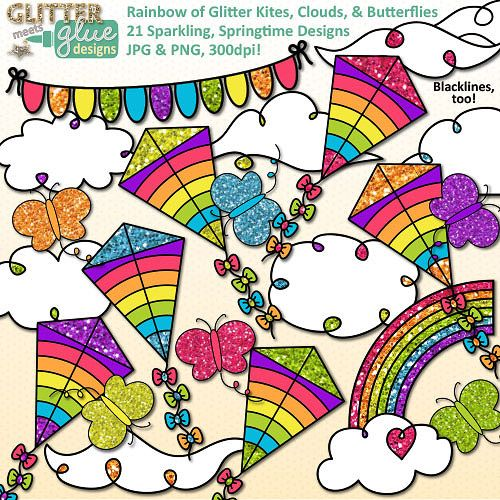 Cloud and butterfly clip. Clipart kite april