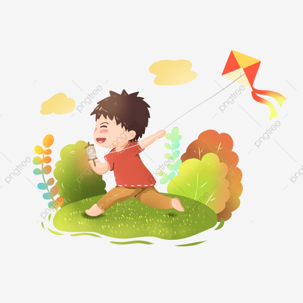 Kite clipart autumn. Children playing creative illustration