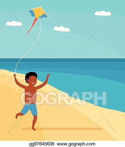 Vector art family leisure. Clipart kite beach
