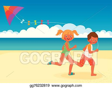 Clipart kite beach. Eps vector children running