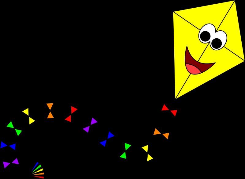Yellow with face medium. Kite clipart big kite